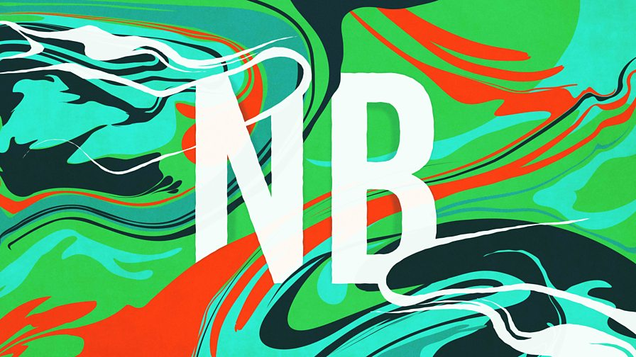 Logo with the letters NB in the middle on a swirling green and orange background