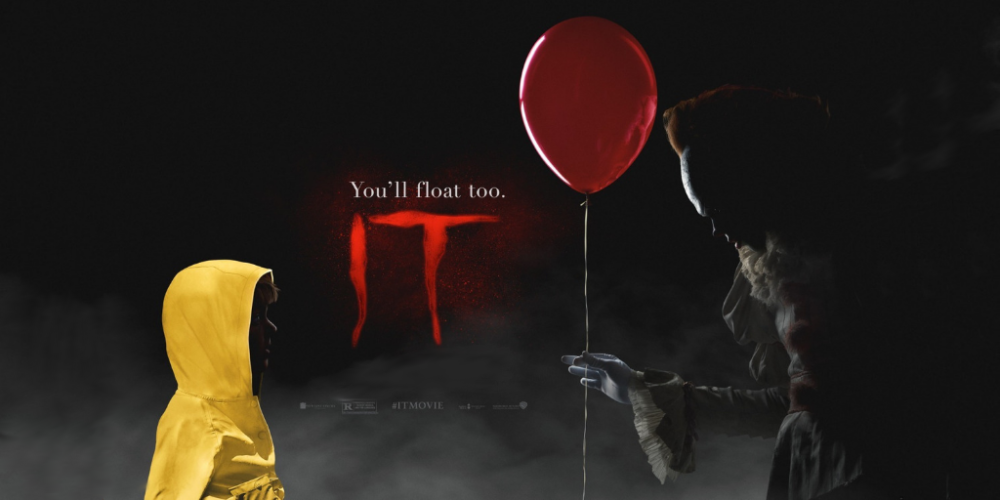 Image with black background, on the left stands a child in a yellow rain coat, on the right a clown offering a red balloon. Between them is the word 'it' in large, red, scrawled letters.